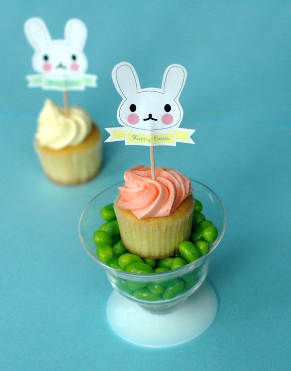 Easter Cupcake Topper Template - Bunny Cakes