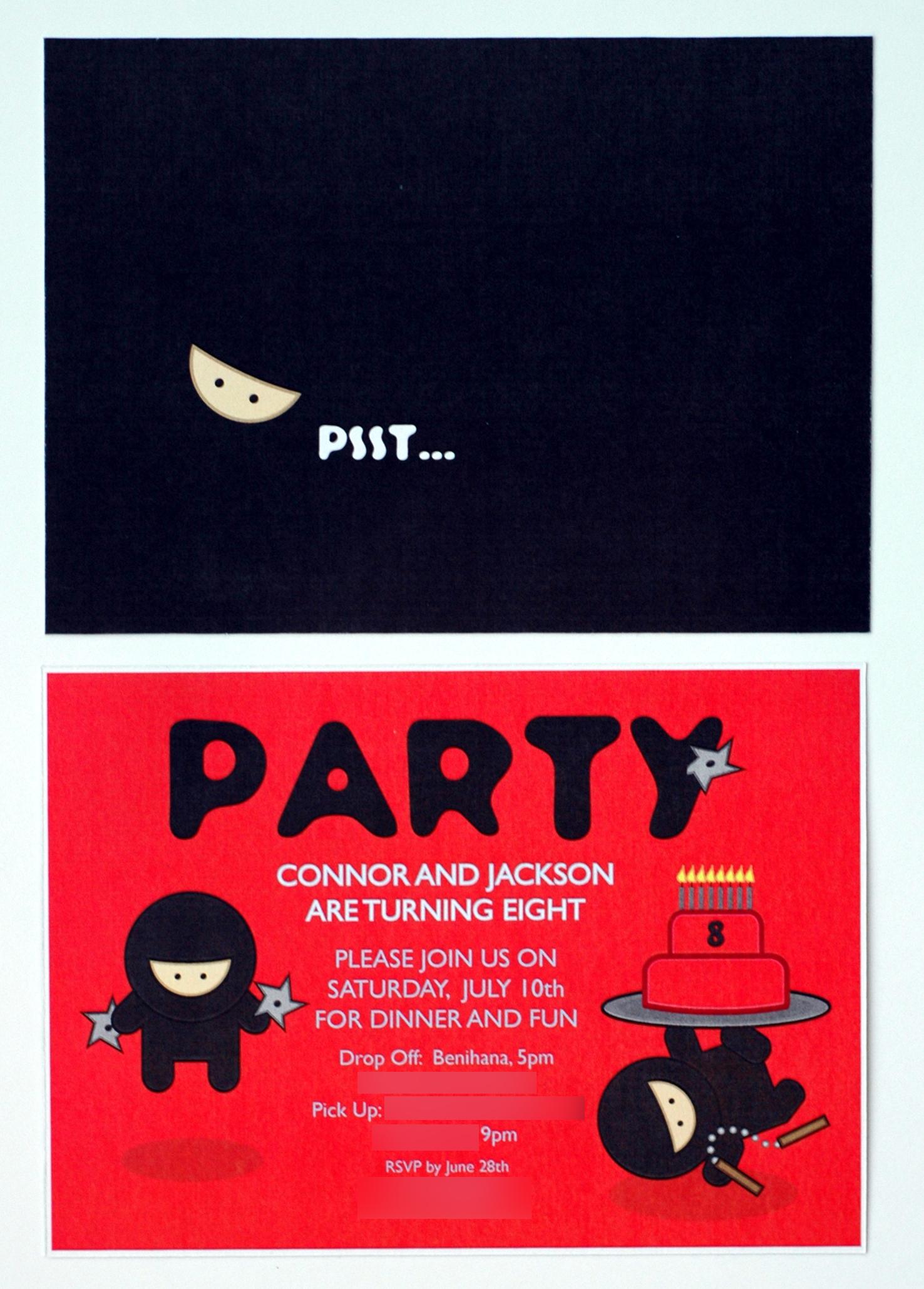 Ninja/Samurai Party Invitations - Bunny Cakes