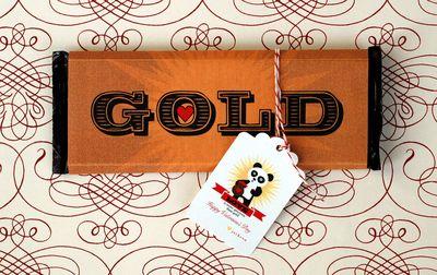 Valentine's Day Gold Brick Chocolate Bars