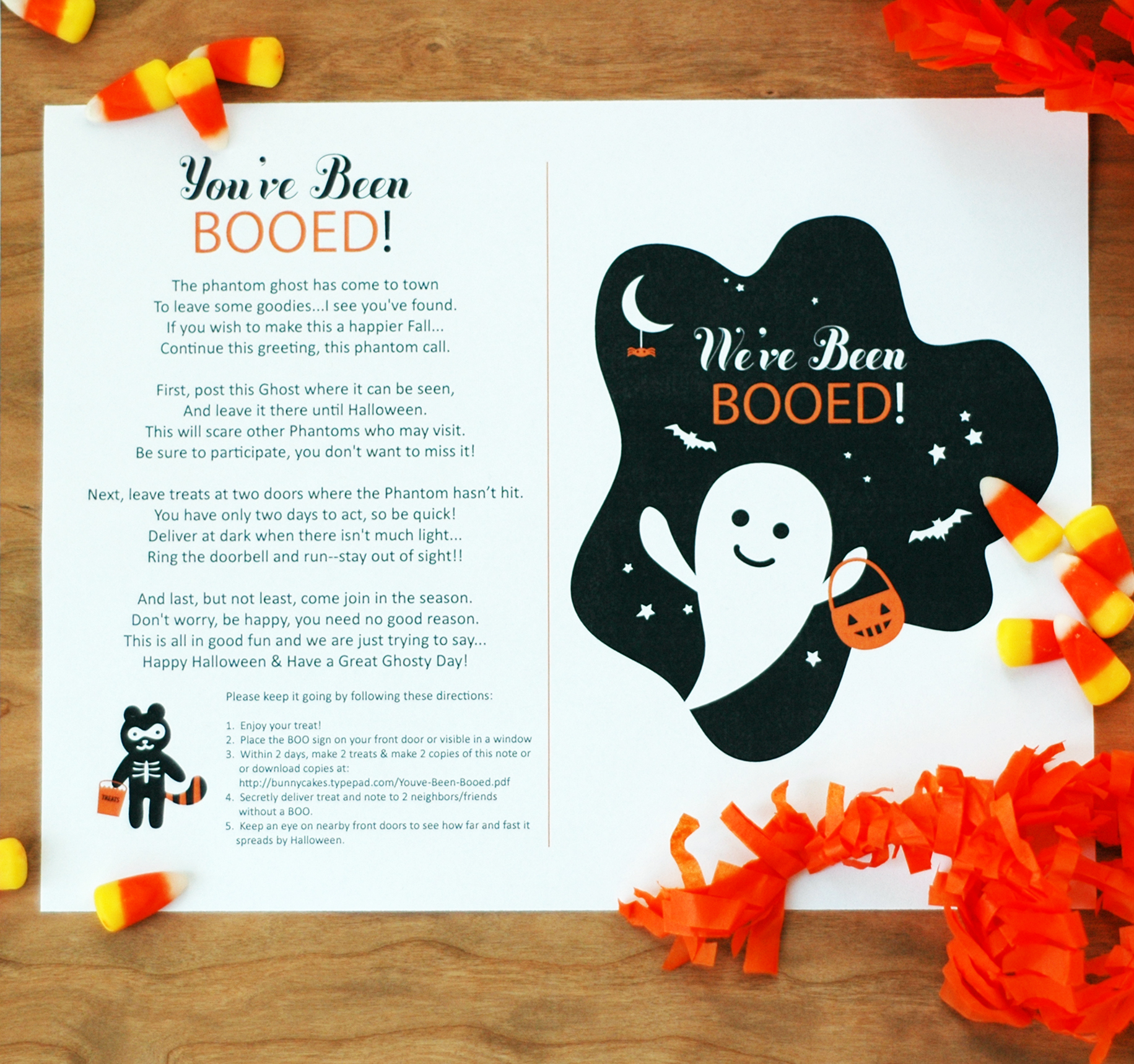 youve been booed printable bunnycakes - Cute Halloween Poem