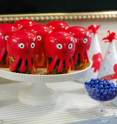 Octopus Snack Containers Filled with Candy for Favors -- BunnyCakes