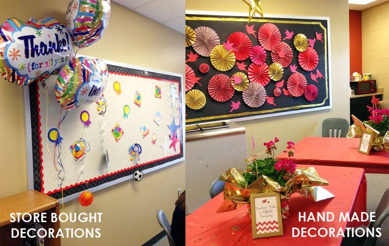 BunnyCakes // Teacher Appreciation Week Decorations --Store Bought vs Homemade Decorations