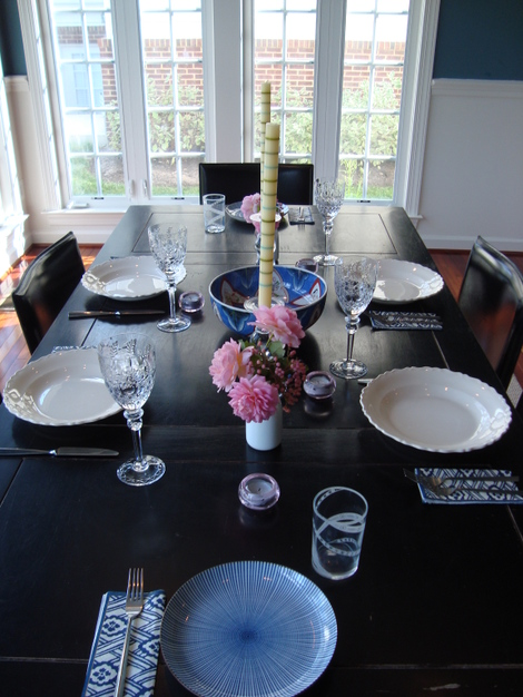 Navy & Pink Table Setting